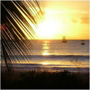 Sunset at Carlisle Bay in front of the beach cottage rental Barbados